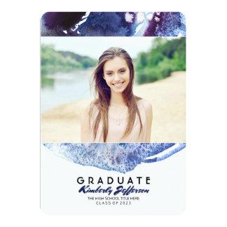 Indigo Blue Watercolor Photo Graduation Party Card