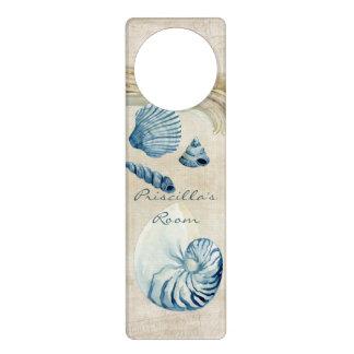 Indigo Ocean Beach Sketchbook Watercolor Shells Door Hanger