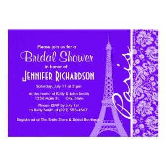 Indigo Purple Damask Paris Eiffel Tower Cards