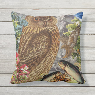 Indoor/Outdoor Owl Throw Pillow/Customizable Cushion