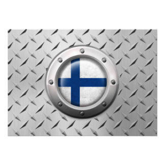 Industrial Finnish Flag with Steel Graphic Card