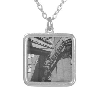 industrial photography square pendant necklace