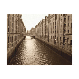 Industrial River Through the City Wrapped Canvas Stretched Canvas Prints