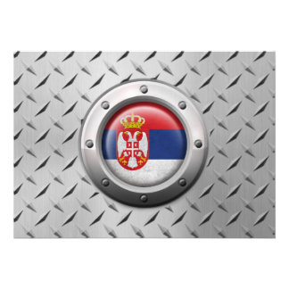 Industrial Serbian Flag with Steel Graphic Custom Invites