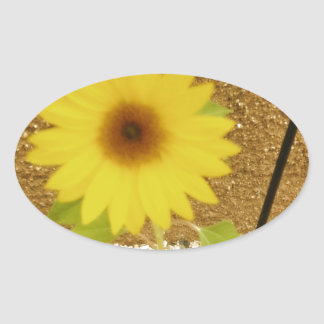 Industrial Sunflower Oval Sticker