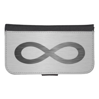 Infinity Symbol On Faux Metal Texture by STaylor Samsung S4 Wallet Case