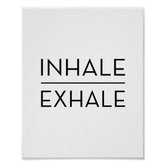 Inhale Exhale Motivational Typography Yoga Quote Poster