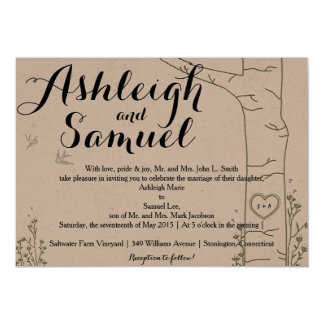 Initial Carved Tree Wedding Invitations