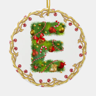 Letter E Christmas Tree Decorations Ornaments Zazzle Co Nz