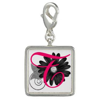 Initial & Flower Keychain