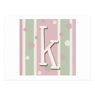 Initial K for girls Postcard