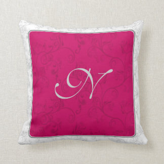 Initial Red and White/Grey Soft Modern Damask Cushion