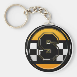 Initial S taxi driver Basic Round Button Key Ring