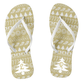 Initial - White/Gold Christmas Fun Font Pattern Jandals