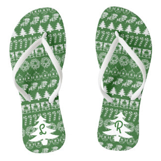 Initial - White/Green Christmas Fun Font Pattern Jandals