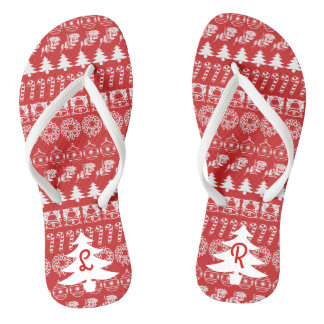 Initial - White/Red Christmas Fun Font Pattern Jandals