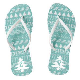 Initial - White/Teal Christmas Fun Font Pattern Jandals