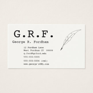 Initials and Quill Point Pen Business Card