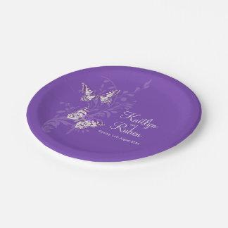 Inked butterflies purple art wedding paper plates 7 inch paper plate