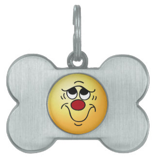 Insecure Smiley Face Grumpey Pet Name Tags