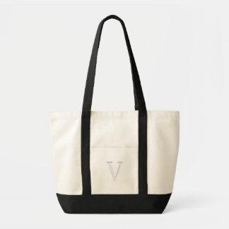 Inset Monogrammed Letter V Impulse Tote Bag
