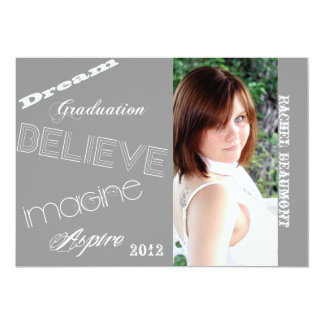 "Inspiration Grey Graffiti Graduation Announcement 5"" X 7"" Invitation Card"