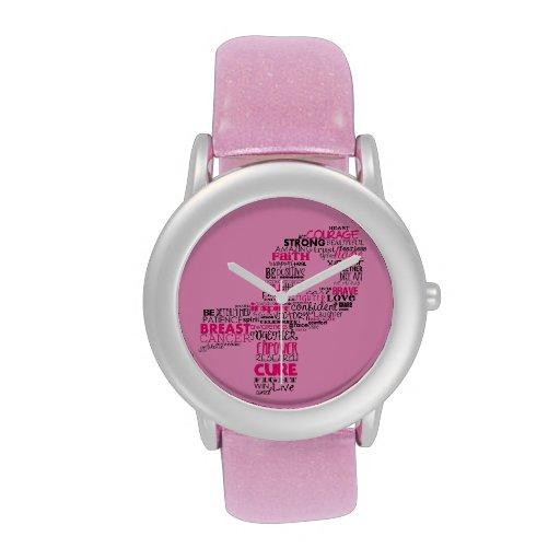 Inspirational Breast Cancer Awareness Ribbon Wristwatch