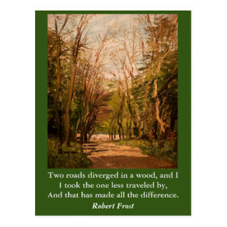 Inspirational card Quote Robert Frost; two roades Postcard