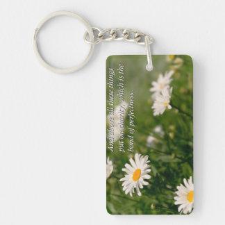 Inspirational - Daisy - Colossians 3-14 Key Ring