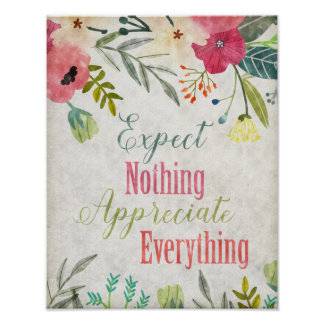 Inspirational quote art Watercolor floral art Poster