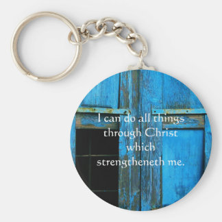 Inspirational Quote from  Bible - Philippians 4:13 Key Ring