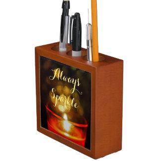 Inspirational zen candle always sparkle pencil hol desk organiser