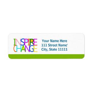 INSPIRE CHANGE RETURN ADDRESS LABEL