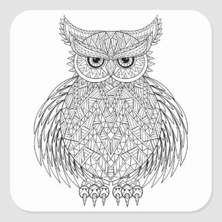 Inspired Owl Bird Totem Square Sticker