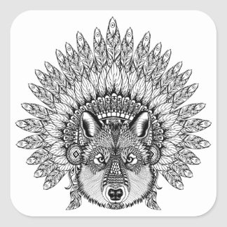 Inspired Wolf In Feathered War Bonnet Square Sticker