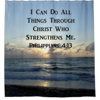 INSPIRING PHILIPPIANS 4:13 BIBLE VERSE SHOWER CURTAIN