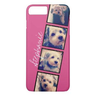 Instagram Photo Display - 4 photos pink name iPhone 8 Plus/7 Plus Case