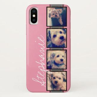 Instagram Photo Display - 4 photos pink name iPhone X Case