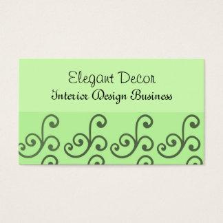 Interior Design Green Swirls Business Card