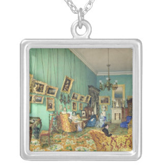 Interior of a living room, 1847 silver plated necklace