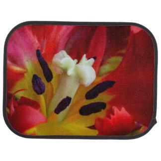 Interior of parrot tulip flower car mat