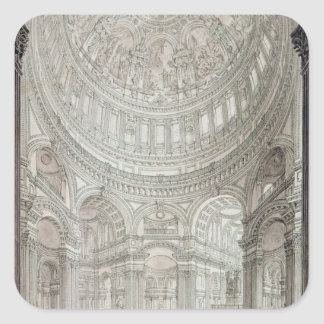 Interior of St.Paul's Cathedral, 1817 Square Sticker