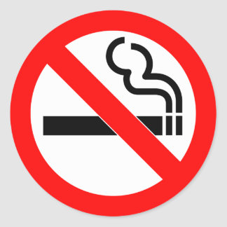 International official symbol no smoking sign round sticker