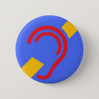 International Symbol for Deaf, Red, Yellow on Blue 6 Cm Round Badge