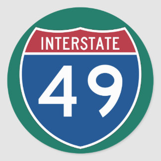Interstate 49 (I-49) Highway Sign (pack of 6/20) Classic Round Sticker
