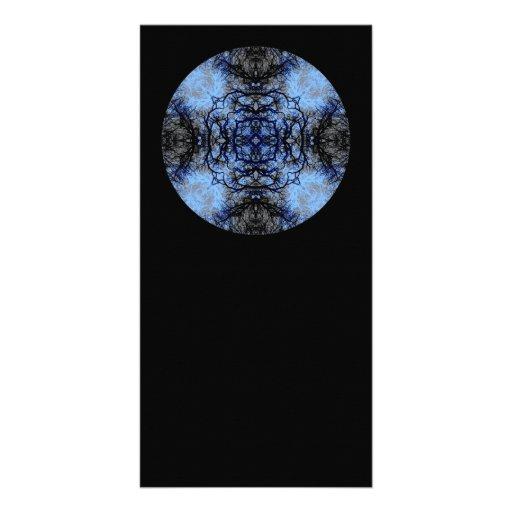 Intricate Decorative design. Black & Blue. Photo Card Template