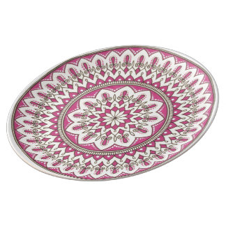 Intricate Hand Drawn Cream And Pink Mandala Plate
