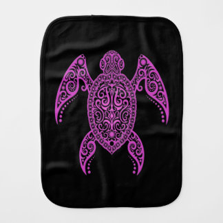 Intricate Pink and Black Sea Turtle Baby Burp Cloths