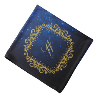 Intricate Square Monogram on Blue Galaxy Bandana
