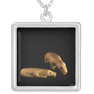 Inuit polar bears, 14th - 15th century silver plated necklace